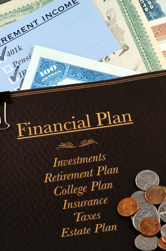 Financial Plan on top of stock certificates and retirement income plan